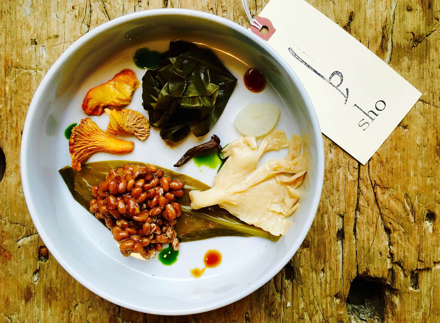 Food Lab at SHO: vegan gastronomy in a cold climate | fermented ramp leaves, oyster mushrooms, black trumpets, chanterelles with chive oil & vermont natto