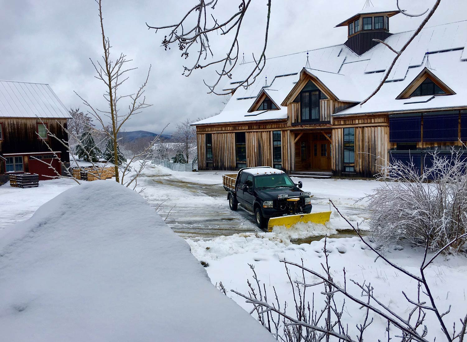SHO Farm: vegan wild farming in a cold climate | we are women-owned & stewarded - shawn plows our 1 mile long driveway and the entire farmstead
